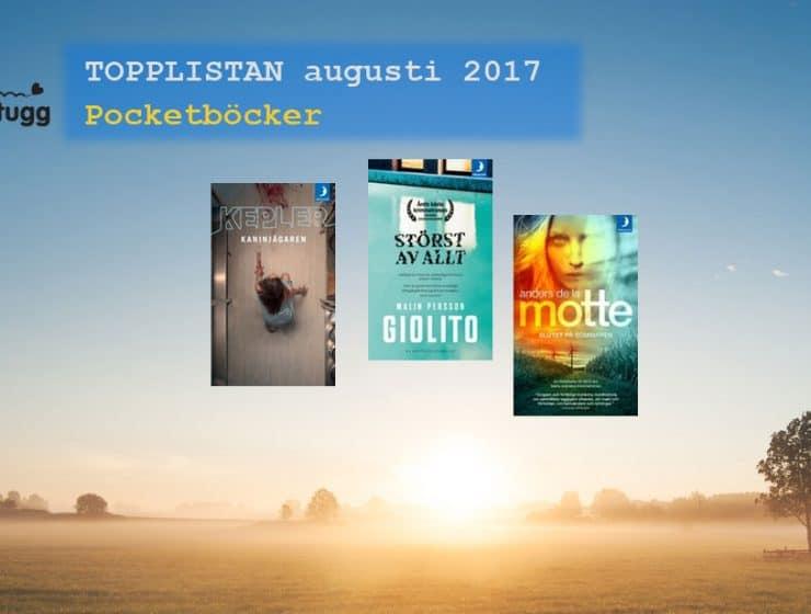 Topplistan mest sålda pocketböckerna i Sverige augusti 2017